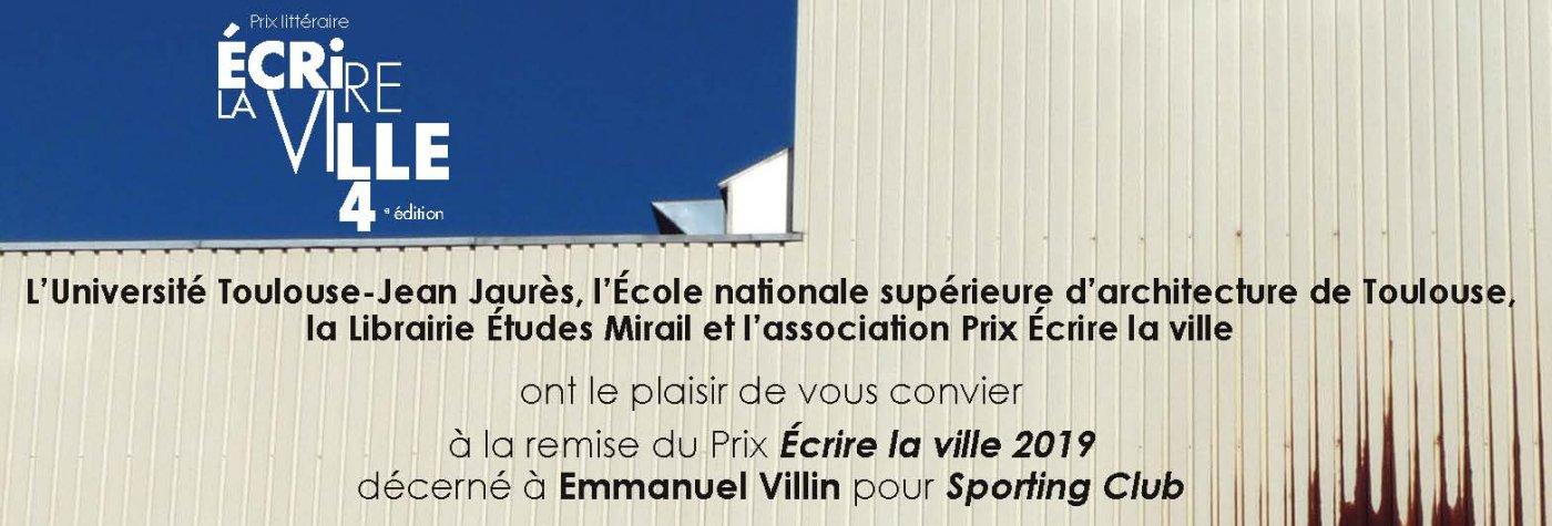 Prix ecrire la ville 4e edition